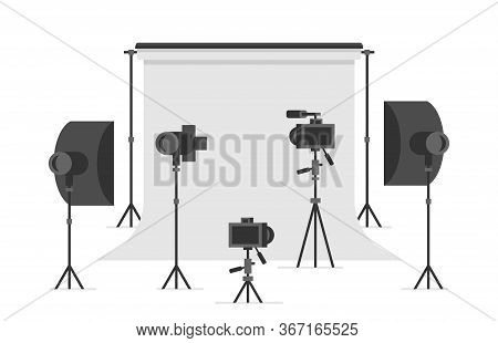 Photo Studio. Empty Photo Studio With Lighting Equipment And Camera. Flat Style. Isolated On White B