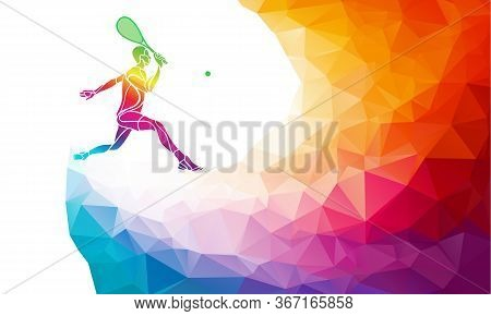 Creative Silhouette Of Female Tennis Player. Racquet Sport Vector Illustration Or Banner Template In