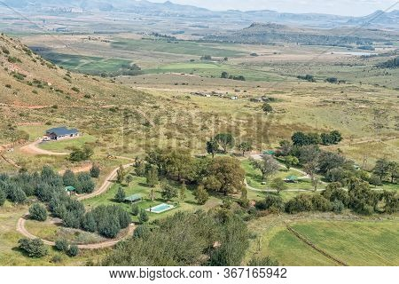 Fouriesburg, South Africa - March 19, 2020: Uithoek Holiday Resort As Seen From A Viewpoint On The M