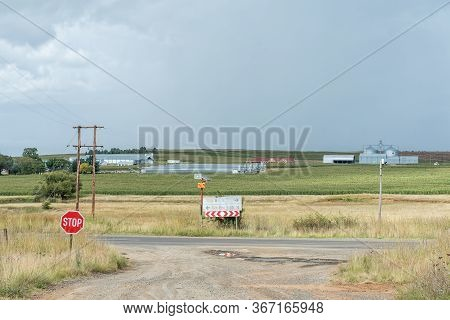 Fouriesburg, South Africa - March 20, 2020: Junction Between The Uithoek And R26 Roads. The Bloukrui