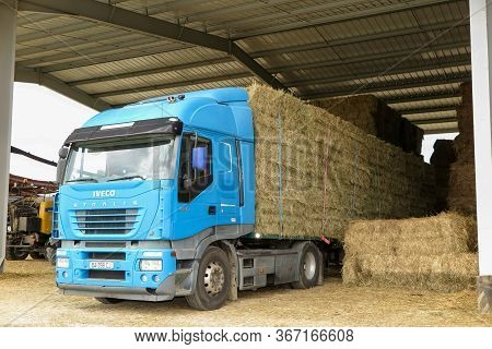 Bordeaux , Aquitaine / France - 04 16 2020 : Iveco Stralis 480 Heavy Trailer Truck Transporting Stra