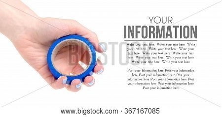 Insulating Tape In The Hands On A White Background. Isolation, Space For Text