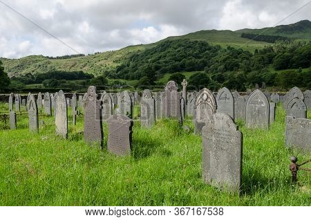 Beddgelert, North Wales, Uk: Jun 3, 2017: A Scenic View Of The Graveyard At The Church Of St. Mary.