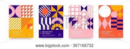 Bauhaus Pattern Background, Abstract Geometric Minimal Vector Circle, Triangle And Square Lines Art