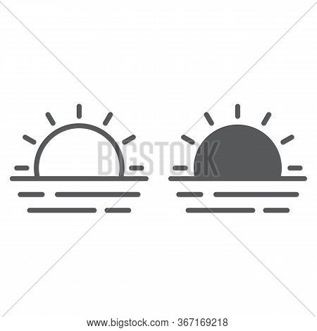 Sunset And Sea Waves Line And Glyph Icon, Summer And Ocean, Sunset Sign Vector Graphics, A Linear Ic