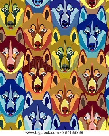 Seamless Pattern With Dogs Heads. Bright Youth Design. Ideal For Teenage Fashion, Stationery, Uphols