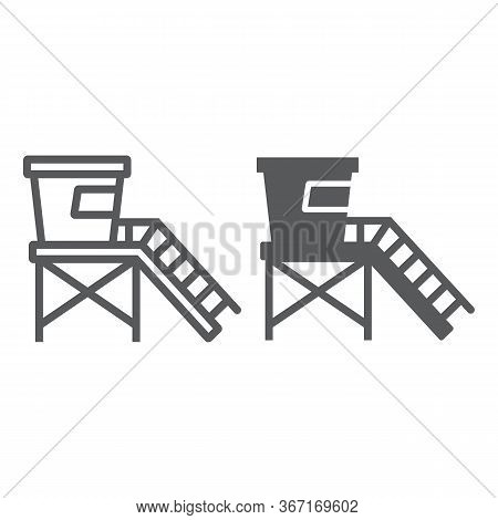 Lifeguard Tower Line And Glyph Icon, Tourism And Beach, Beach Lifeguard Sign Vector Graphics, A Line