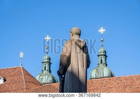 Sankt Gallen, Switzerland - May 7, 2020: Holy Gallus Statue On Gallus Fountain, Directed Towards The