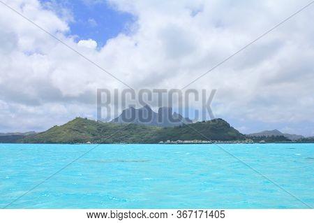 View From Sea On Mount Otemanu On Bora Bora Island. French Polynesia