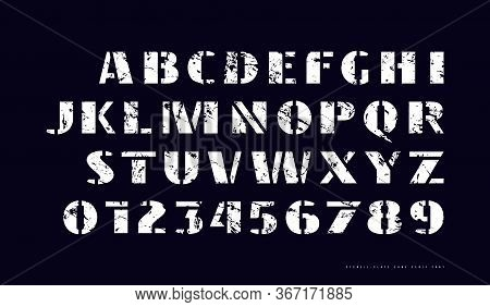 Stencil-plate Sans Serif Font In Military Style. Bold Face. Letters And Numbers With Vintage Texture