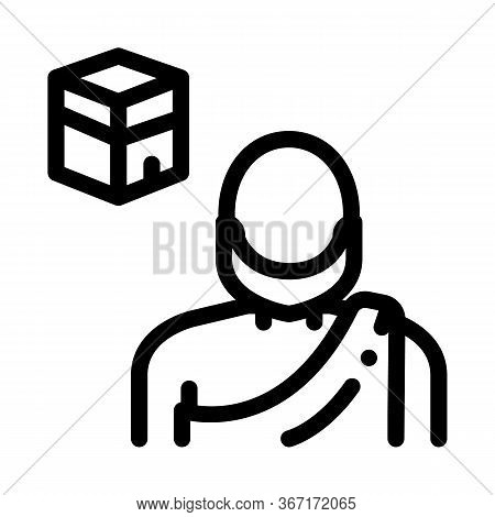 Muslim Pilgrim Icon Vector. Muslim Pilgrim Sign. Isolated Contour Symbol Illustration