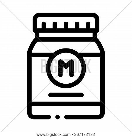 Jar Of Mayonnaise Sauce Icon Vector. Jar Of Mayonnaise Sauce Sign. Isolated Contour Symbol Illustrat