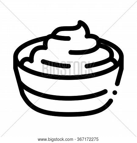 Bowl Of Finished Mayonnaise Icon Vector. Bowl Of Finished Mayonnaise Sign. Isolated Contour Symbol I