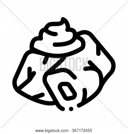 Pieces Of Meat With Mayonnaise Seasoning Icon Vector. Pieces Of Meat With Mayonnaise Seasoning Sign.