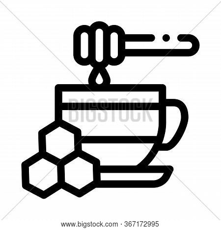 Add Honey To Cup Of Tea Icon Vector. Add Honey To Cup Of Tea Sign. Isolated Contour Symbol Illustrat