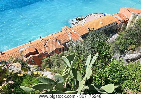 Nice, French Riviera Cote D'azur In Provence, France. View On Mediterranean Sea.