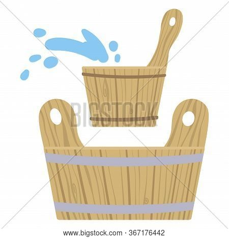 Set Of Pictures On The Theme Of Taking Steam In The Bath. Vector Illustration.