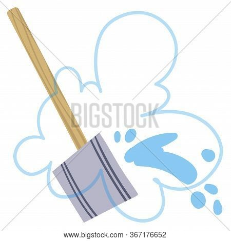 Ladle With Water For Steaming In A Bath. Vector Illustration.