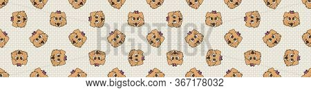 Hand Drawn Cute Rough Collie Breed Puppy Face With Pink Bow Seamless Vector Border. Purebred Pedigre