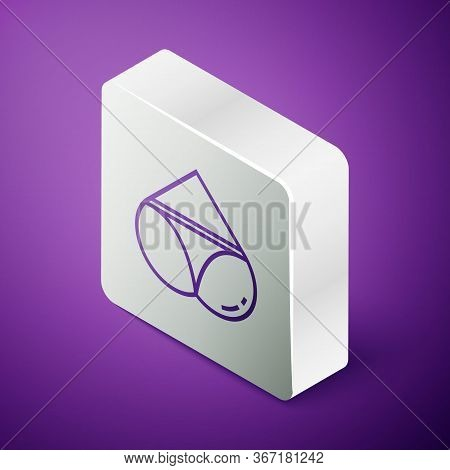 Isometric Line Womens Booty In A Heart Shape With Panties On It Icon Isolated On Purple Background.