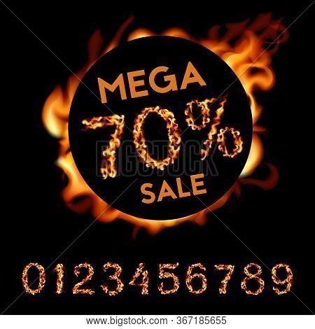 70 Percent Mega Sale. Fire Design On Black Background. Vector Illustration