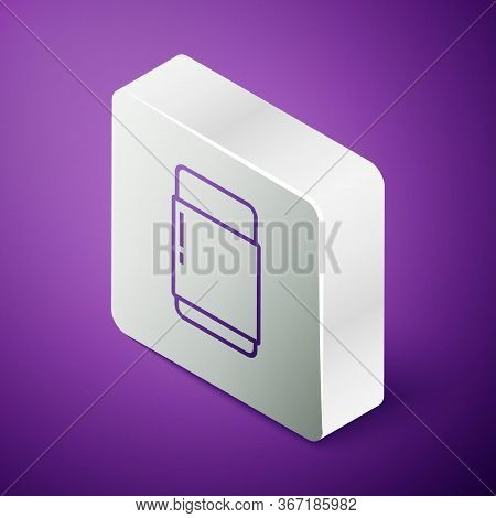 Isometric Line Eraser Or Rubber Icon Isolated On Purple Background. Silver Square Button
