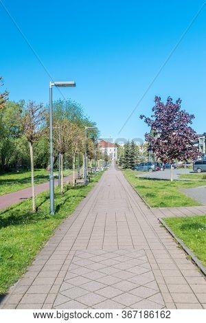 Pruszcz Gdanski, Poland - May 18, 2020: Pedestrian Alley In City Center Of Pruszcz Gdanski.