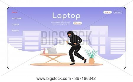 Laptop Theft Landing Page Flat Color Vector Template. Private Property Thievery. Burglar Tiptoeing I