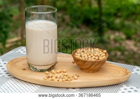 Soybean Milk Or Soy Milk In A Glass And Soy Beans In Wooden Bowl On Wooden Tray