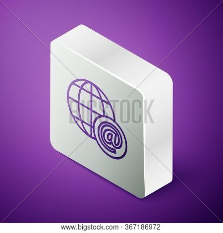 Isometric Line Earth Globe With Mail And E-mail Icon Isolated On Purple Background. Envelope Symbol