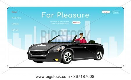 For Pleasure Landing Page Flat Color Vector Template. Auto Showroom Homepage Layout. Luxurious Cars