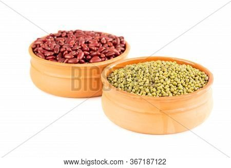 Red Kidney And Mung Beans In The Ceramic Pots Isolated On A White Background.