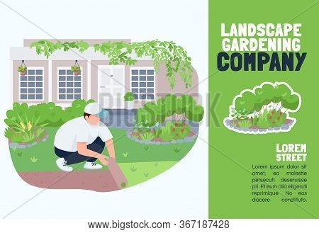 Landscape Gardening Company Banner Flat Vector Template. Brochure, Poster Concept Design With Cartoo