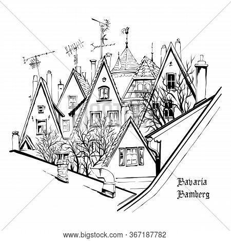 Vector Sketch Of Quaint Facades And Roofs Of Medieval Old Town, Rothenburg Ob Der Tauber, Bavaria, G