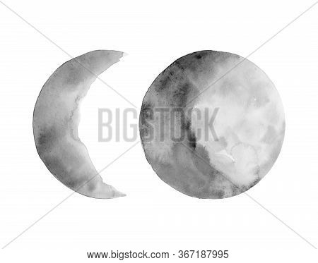 Set Of Two Phases Of The Moon. Crescent Moon And The Full Moon. Gray Earth Satellites . Watercolor I