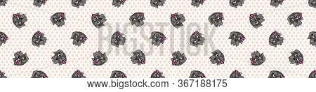 Hand Drawn Cute Schnauzer Breed Puppy Face With Pink Bow Seamless Vector Border. Purebred Pedigree D