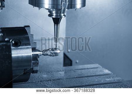 The 4-axis Cnc Milling Machine Cutting The  Sample Parts With Solid Ball Endmill Tools. The Hi-preci
