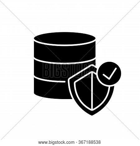 Datacenter Security Black Glyph Icon. Digital Encryption. Big Data Protection. Web Hosting Safety. I
