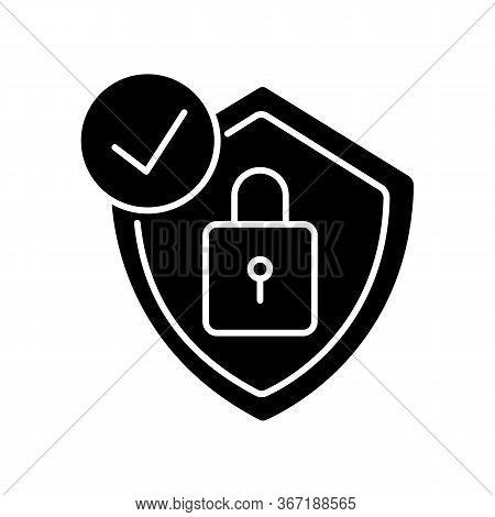 Antivirus Black Glyph Icon. Digital Encryption. Personal Data Protection. Padlock And Shield. Cybers