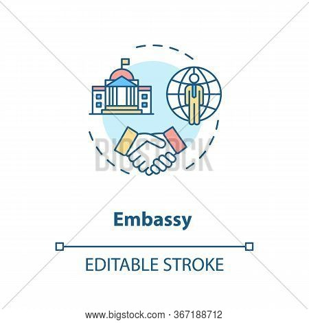 Embassy Concept Icon. Diplomatic Mission Idea Thin Line Illustration. International Relations. Forei