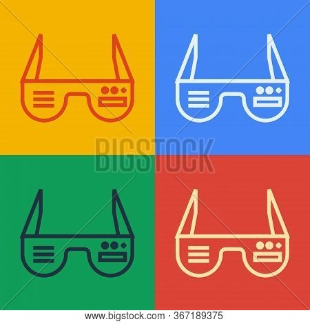 Pop Art Line Smart Glasses Mounted On Spectacles Icon Isolated On Color Background. Wearable Electro