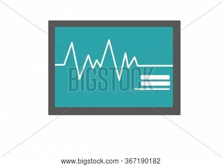 Heart Monitor On White Background. Heart Rate Monitor Measuring Heartbeat Rate. Medical Diagnostic E
