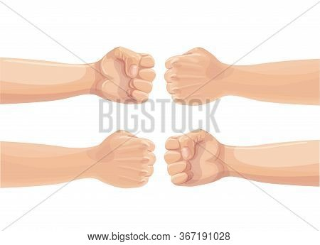Two Fists Punching Each Other. Two Clenched Fists Bumping. Conflict, Protest, Brotherhood Or Clash C