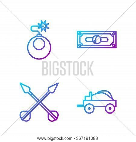 Set Line Wild West Covered Wagon, Crossed Arrows, Bomb Ready To Explode And Stacks Paper Money Cash.