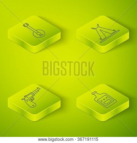 Set Isometric Indian Teepee Or Wigwam, Revolver Gun, Whiskey Bottle And Banjo Icon