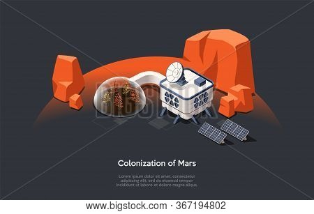Isometric 3d Concept Of Mars Colonization Mission And Space Tourism. Futuristic Space Home, Garden U