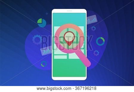 Local Seo Flat Vector Illustration Concept. Search Engine Optimization Marketing Results Based On Cl