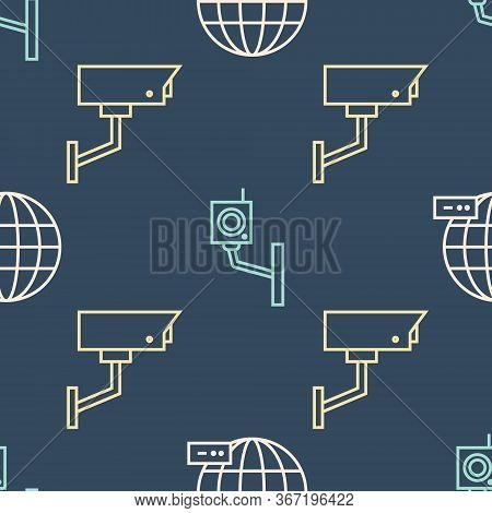 Set Line Social Network, Security Camera And Security Camera On Seamless Pattern