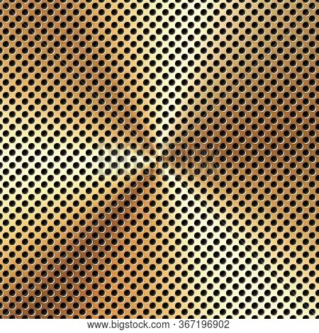 Realistic Perforated Brushed Metal Texture. Polished Stainless Steel Background. Vector Illustration