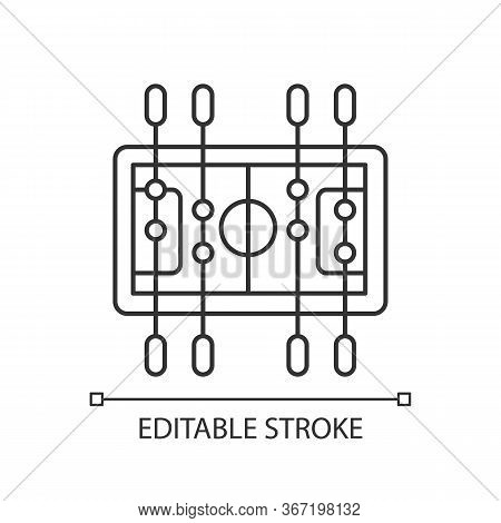 Table Soccer Pixel Perfect Linear Icon. Traditional Friendly Party Recreational Activity Thin Line C